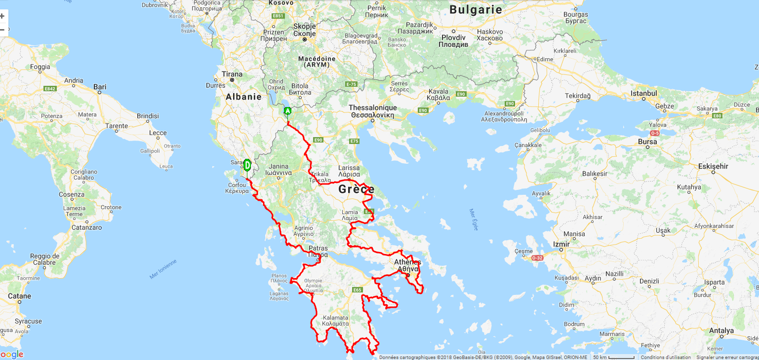 Trace du circuit grece